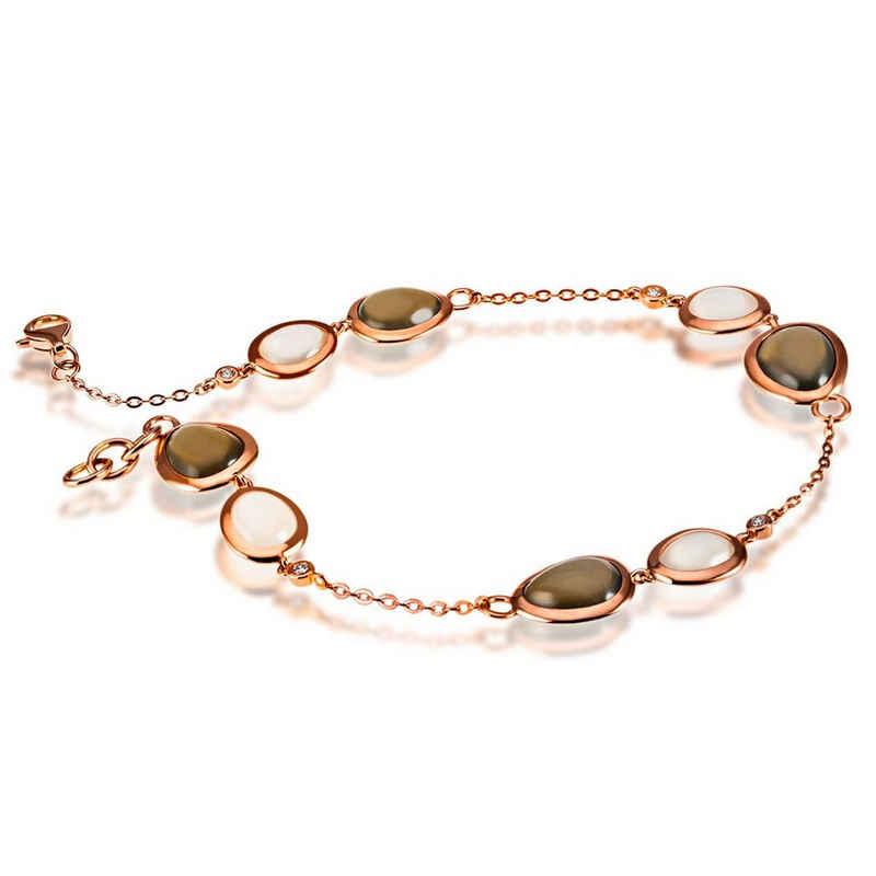 goldmaid Armband 585/- Rotgold 8 Mondsteine 4 Brill. 0,06 ct.