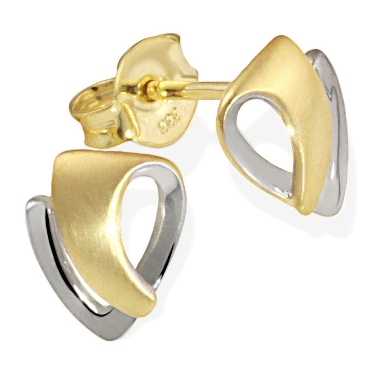 goldmaid Paar Ohrstecker Gold 333/- Bicolor matt und hochglanzpoliert