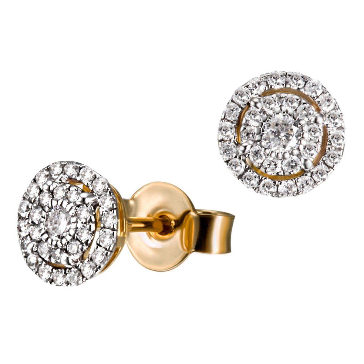 goldmaid Paar Ohrstecker 585/- Gelbgold 58 Brillanten 0,32 ct. P2/H