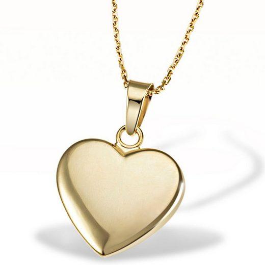 goldmaid Collier Herz 375/- Gelbgold matt Ankerkette 45 cm