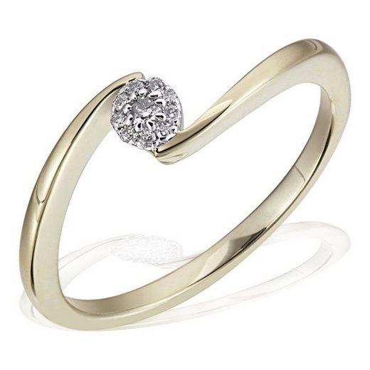goldmaid Damenring Glamour Verlobung 585 Gelbgold 10 Brillanten 0,08 ct.