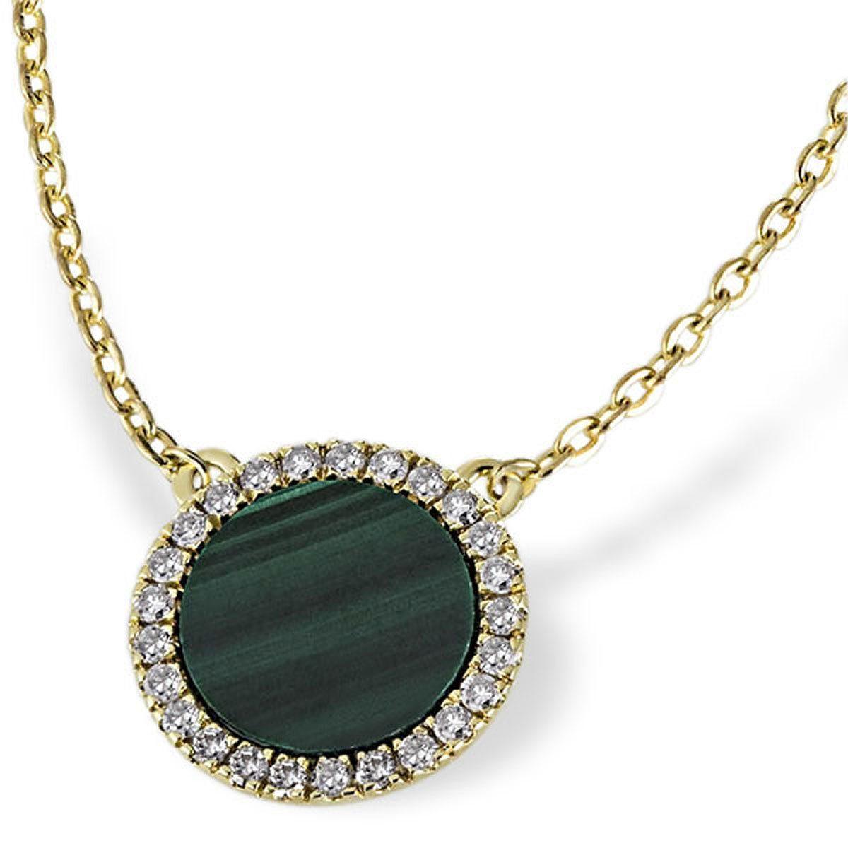 goldmaid Collier Hope 375/- Gelbold 1 Malachit 25 Diamanten 0,13 ct.
