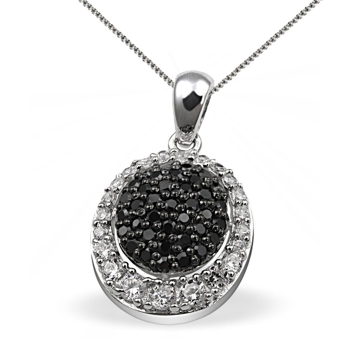 Averdin Collier Silber 925 schwarz weisse Zirkonia Pavee