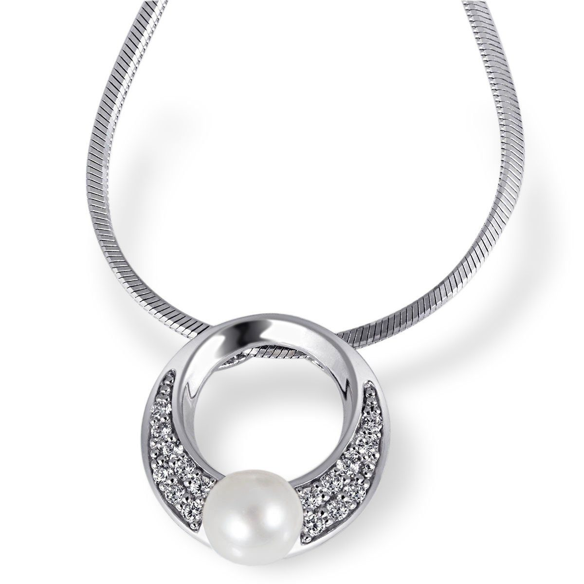 goldmaid Collier Tina 925/- Sterlingsilber 1 Perle 16 weiße Zirkonia