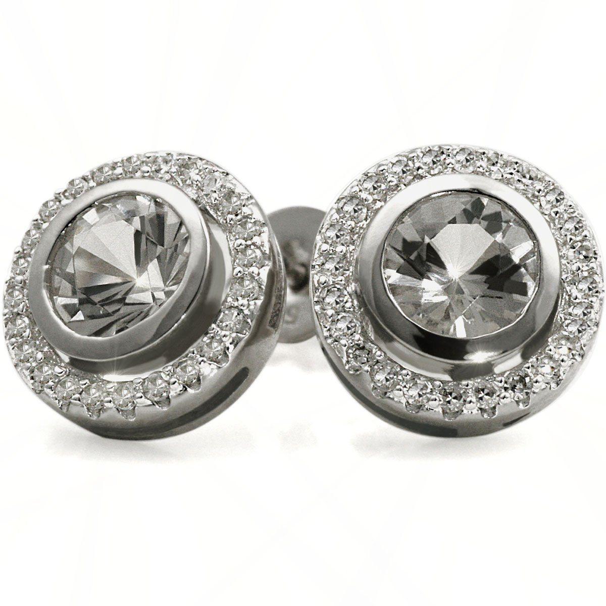 goldmaid Paar Ohrstecker Weissgold 585 Topas Diamanten