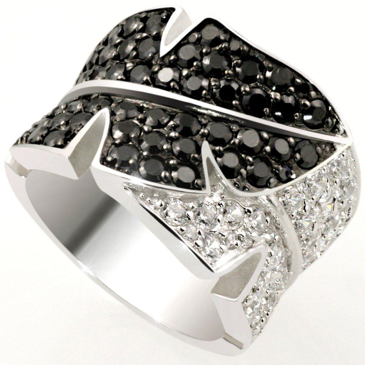 Averdin Damenring Silber 925 Optik schwarz-weiss Blätter