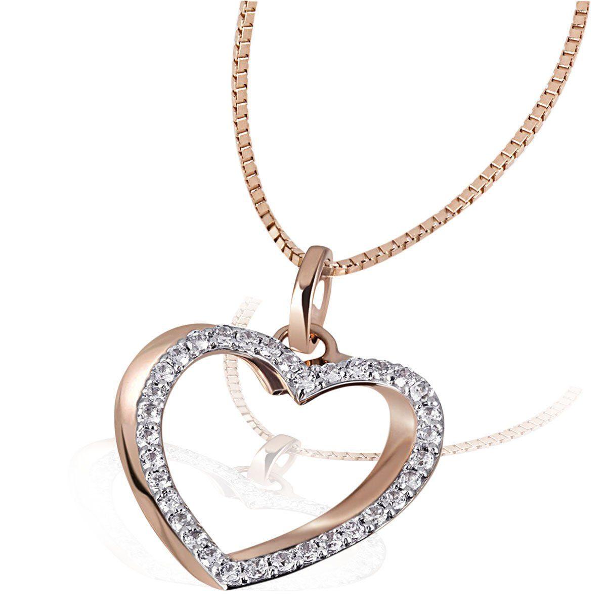 goldmaid Collier Heart 585 Rotgold 34 Diamanten 0,23 ct. P2/H
