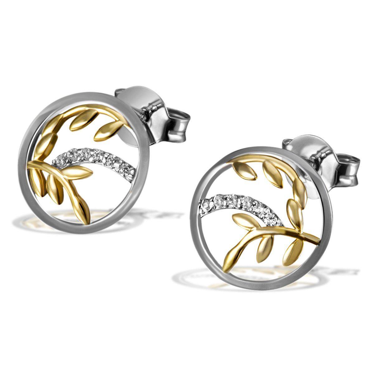goldmaid Paar Ohrstecker 925/- Silber 12 weiße Zirkonia