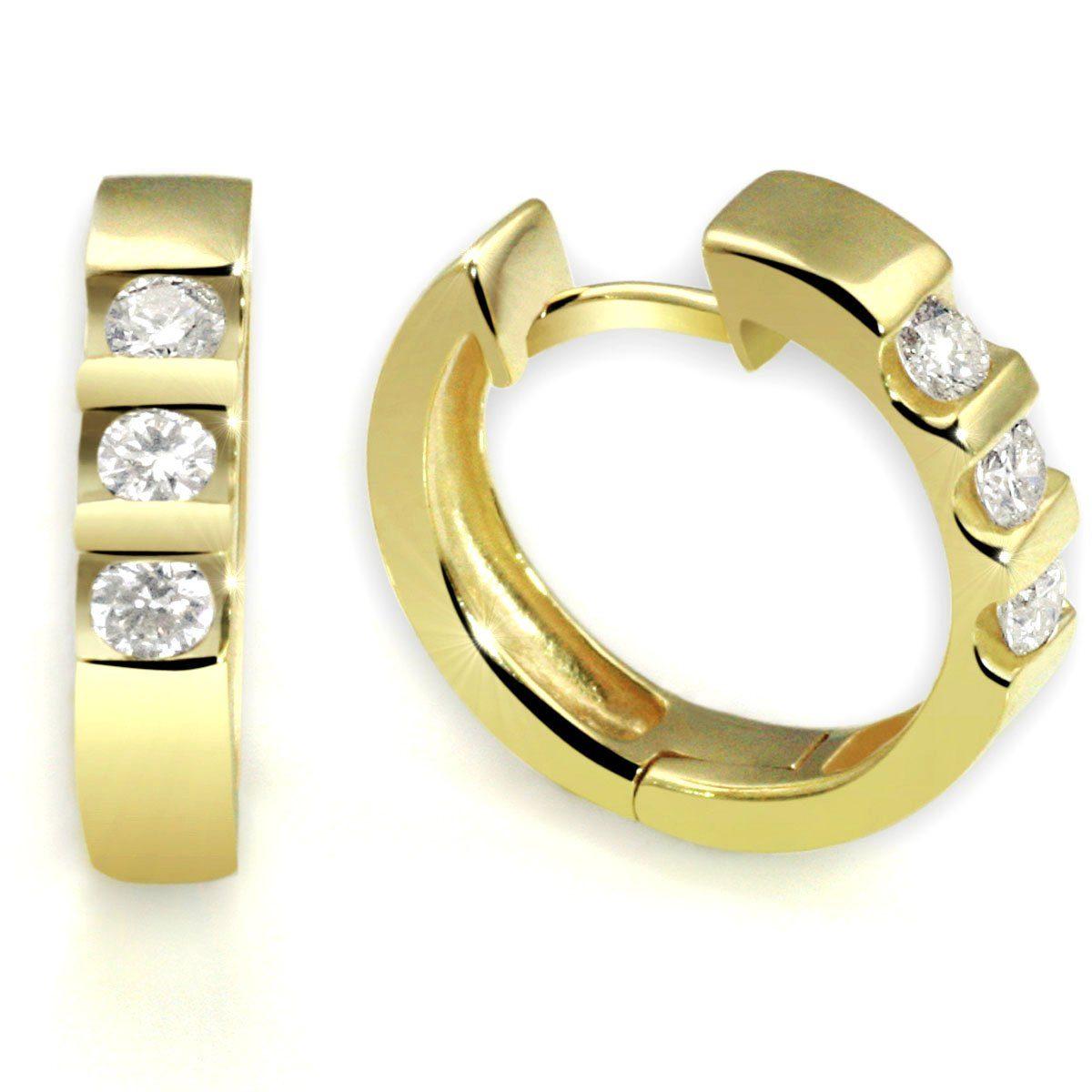 goldmaid Paar Ohrringe Gelbgold 585/- Memoire Brillanten