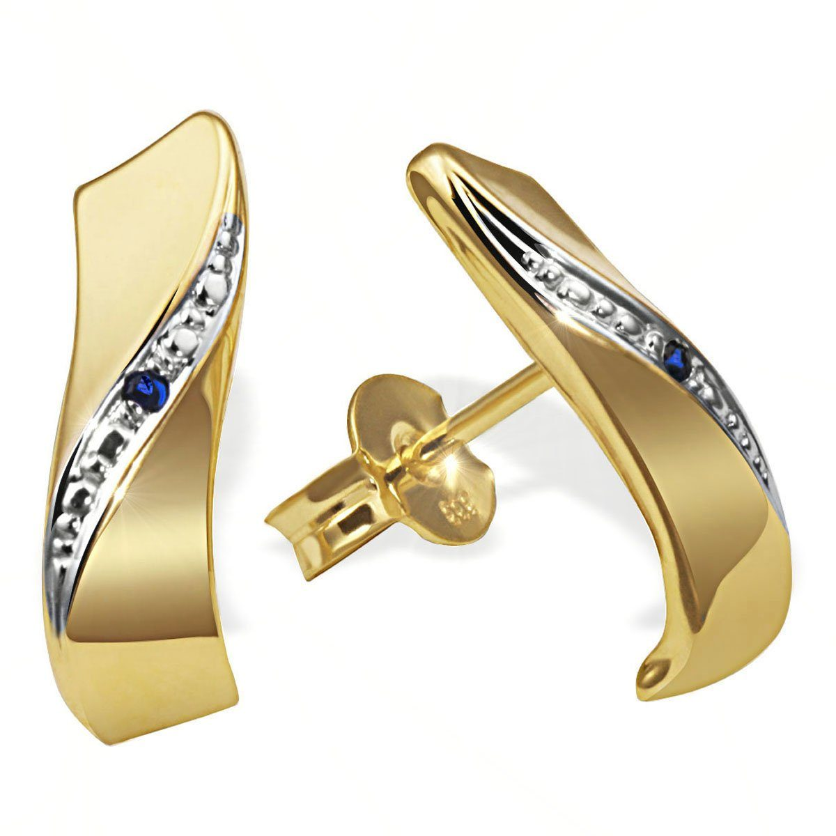 goldmaid Paar Ohrstecker 333/- Gelbgold 2 blaue Safire