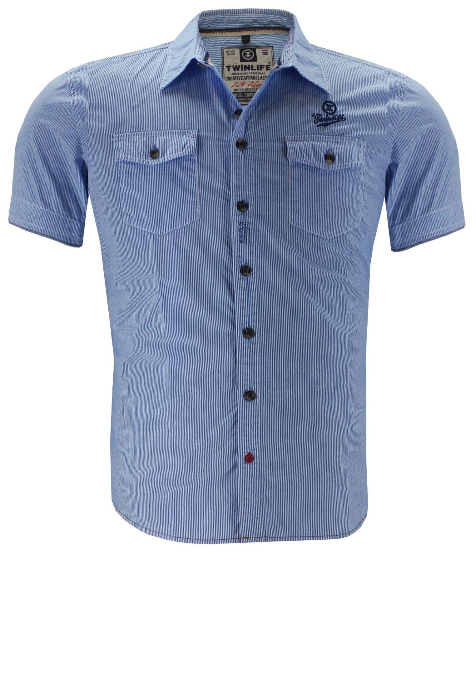 Herren twinlife Kurzarmhemd blau | 08718617131865
