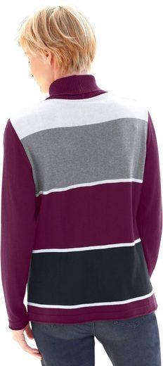 Collection L. Pullover im sportiven Blockstreifen-Muster