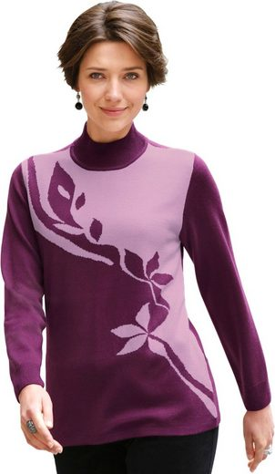 Classic Basics Sweater With Floral Jacquard Pattern In The Front Part