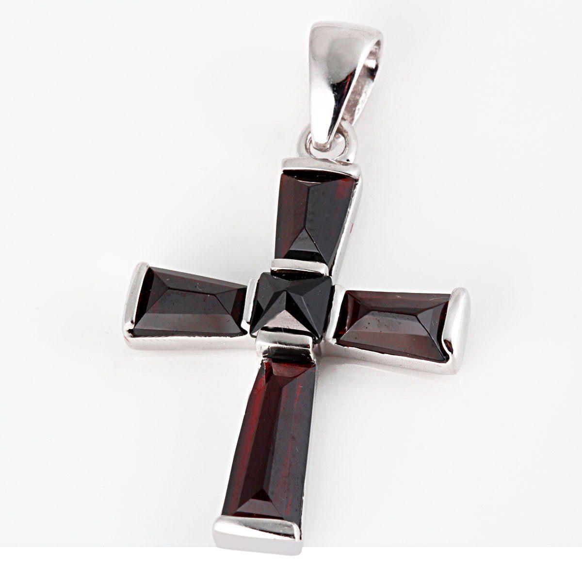 Averdin Kreuz Collier mit 5 Granat Steinen