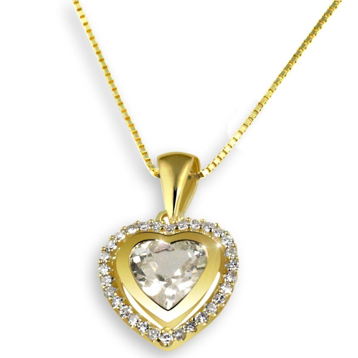 goldmaid Collier Gelbgold 585 Herz Diamanten Weißtopas
