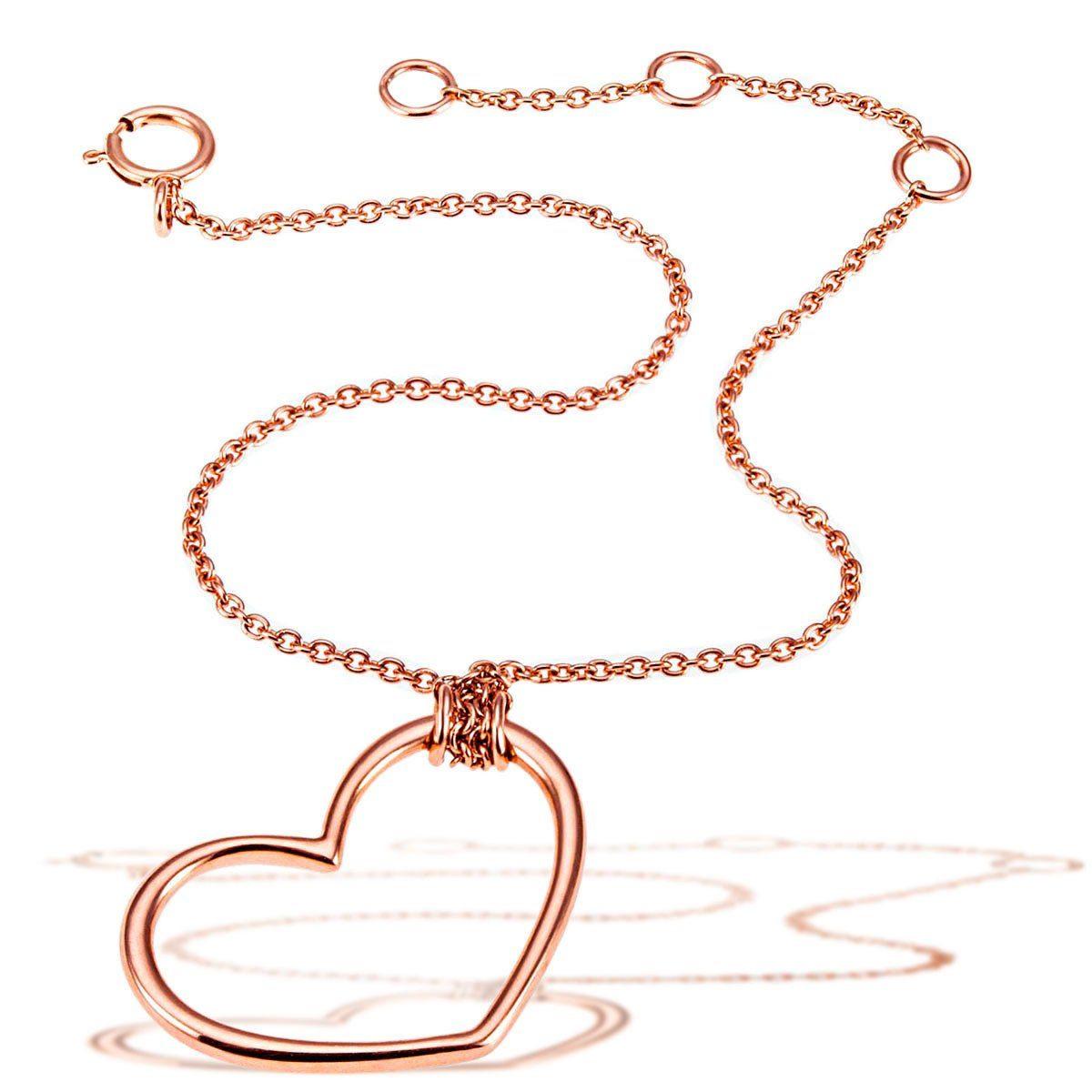goldmaid Armband Herz 585/- Rotgold zwei Zwischenösen