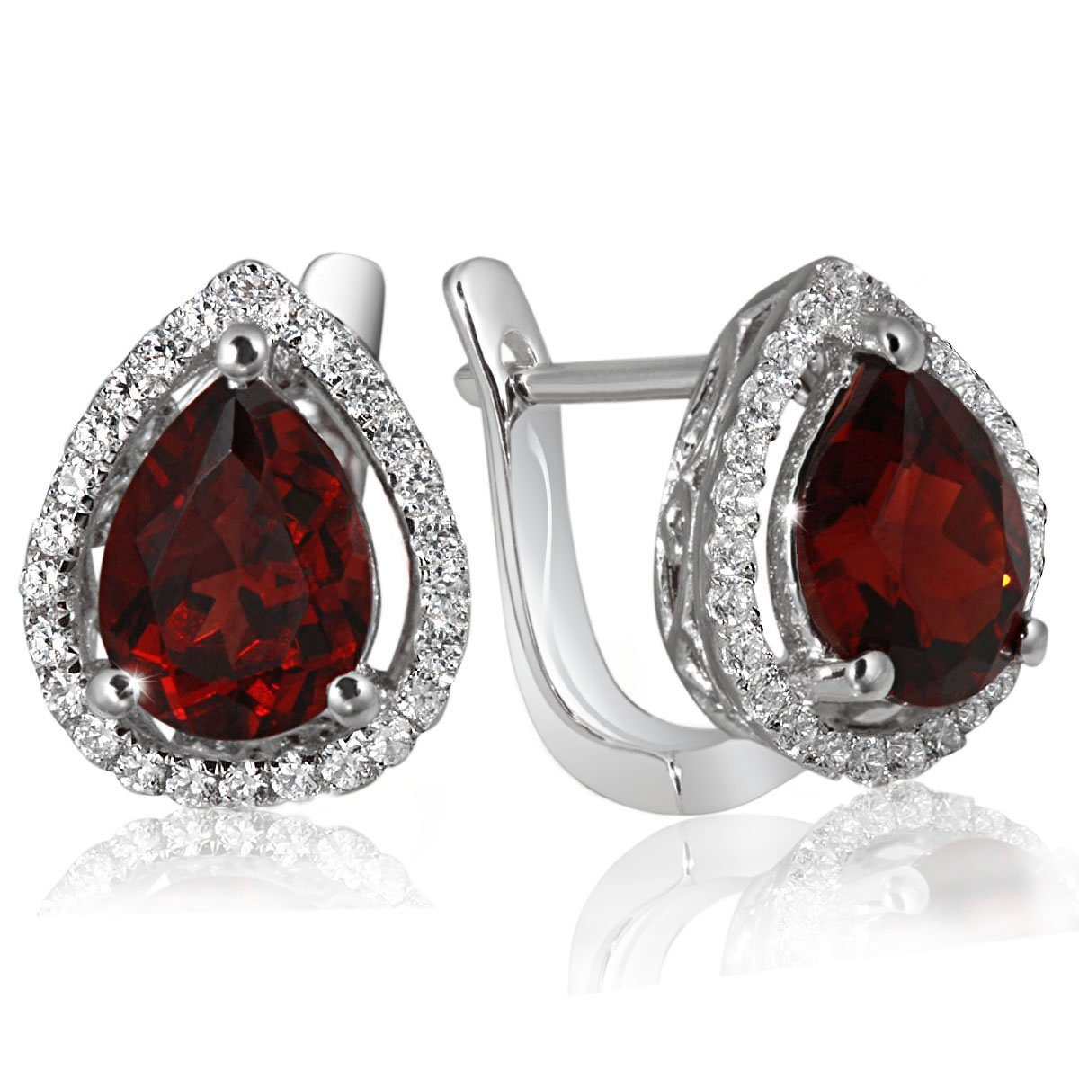 goldmaid Paar Ohrringe Silber 925/- Granate Tropfen Zirkonia PremiumShine