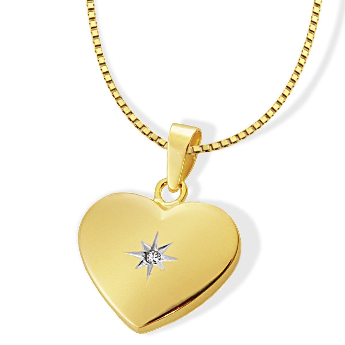 goldmaid Collier Herz mit Stern 375/- Gelbgold 1 Diamant 0,01 ct. P2/KL