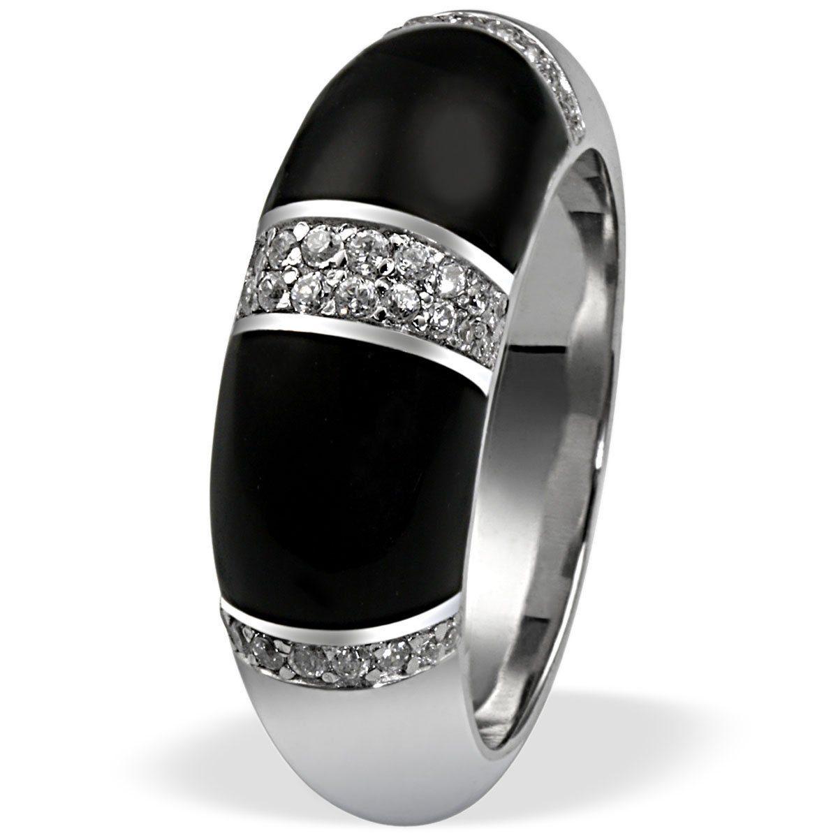 Averdin Damenring Silber 925/- Zirkonia schwarze Flächen massiv jetztbilligerkaufen