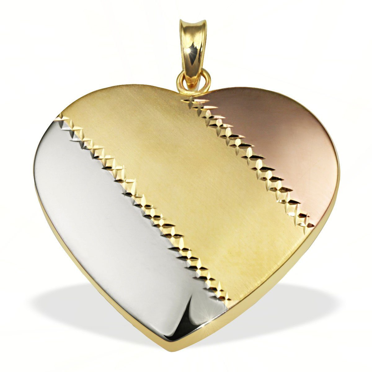 goldmaid Anhänger Herz gestreift 333/- Gold Tricolor