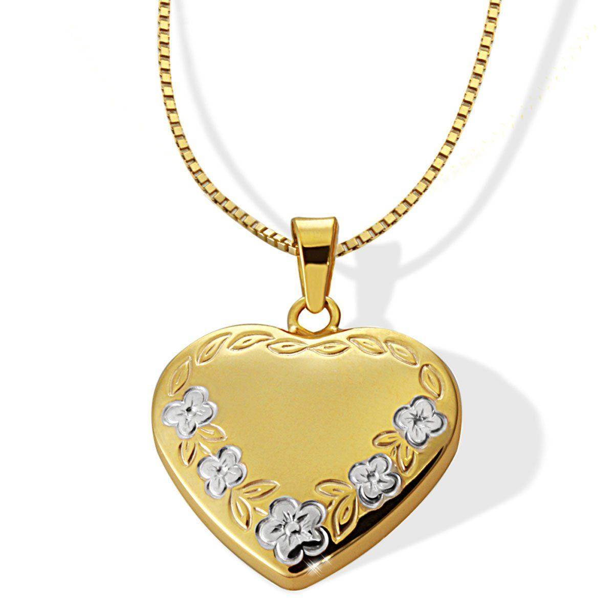 goldmaid Collier Herz mit Blumen 375/- Gelbgold