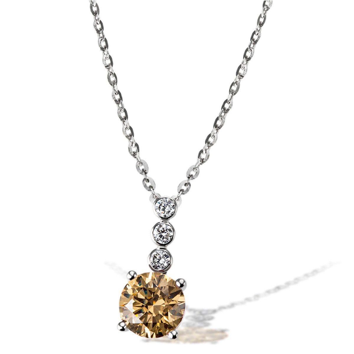 goldmaid Collier 925/- Sterlingsilber 3 weiße 1 gelber Zirkonia