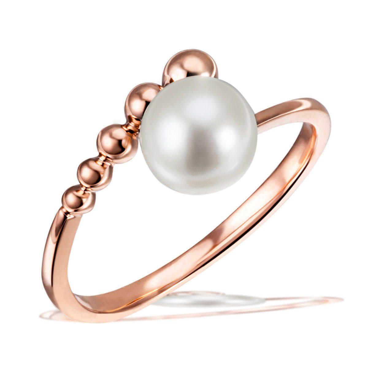 Ring Damenring mit weißer Süßwasser Perle 7-7,5mm Perlenring aus 925 Silber