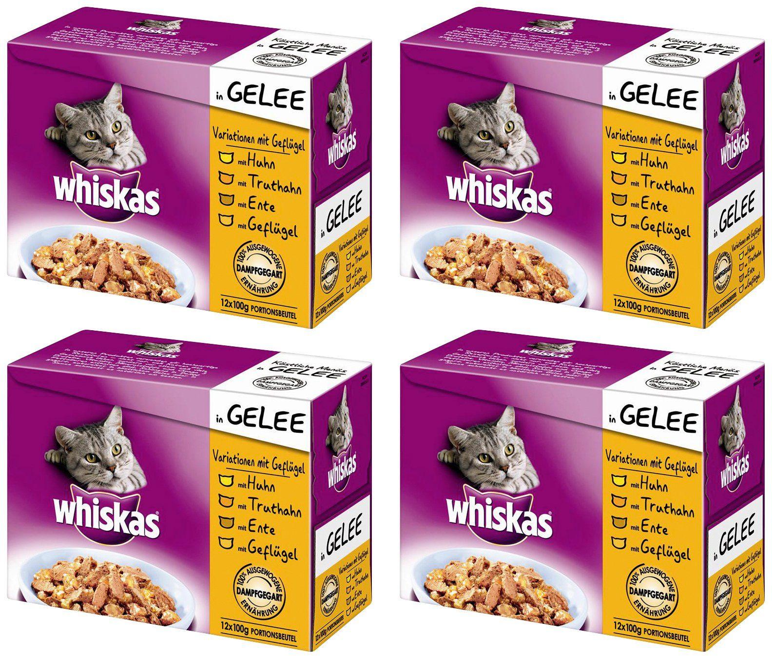 Whiskas Set: Katzennassfutter »Variationen mit Geflügel«, 4 Pakete mit je 12 Beuteln á 100 g