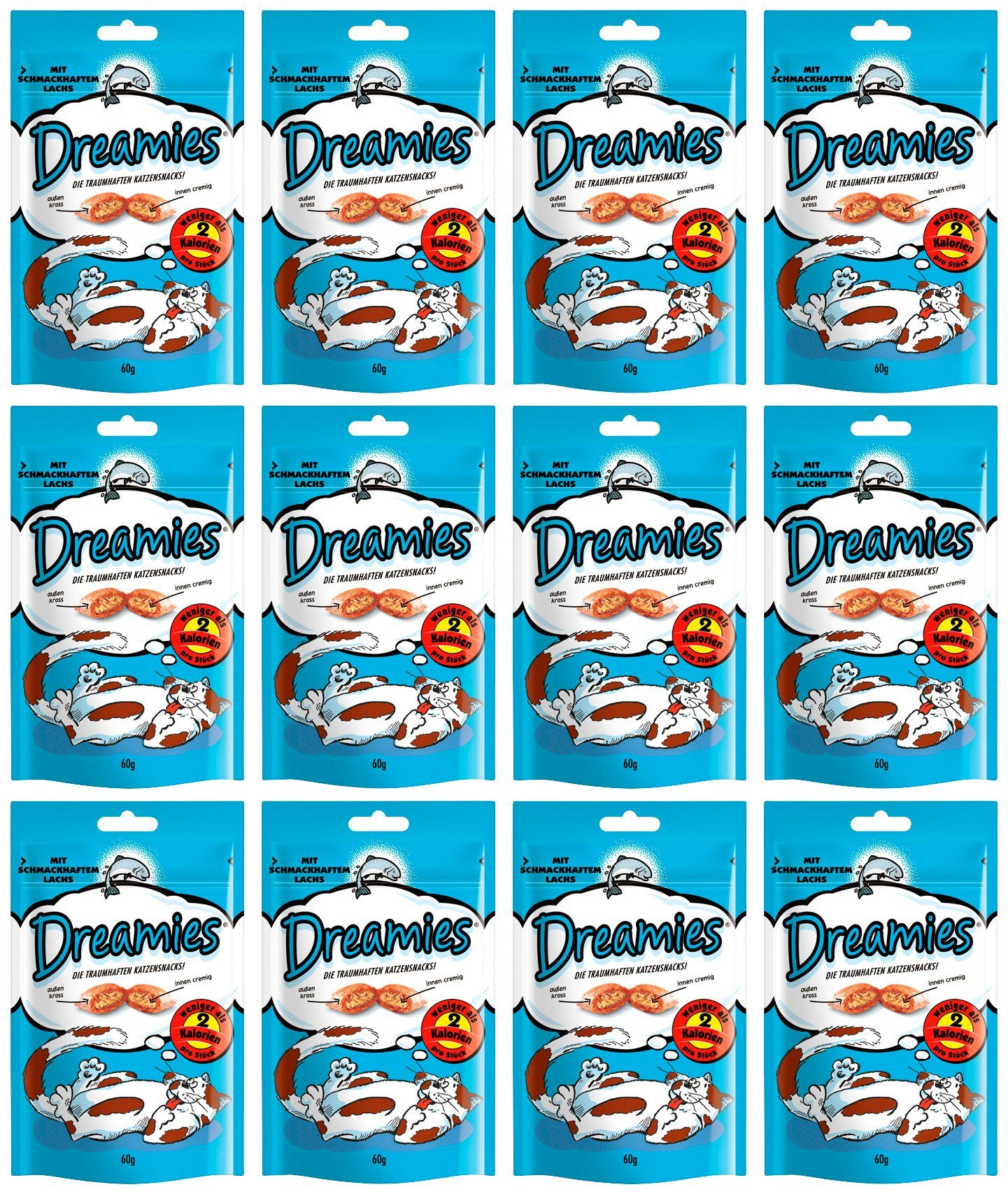 Dreamies Set: Katzensnack »Lachs«, 12 Beutel á 60 g