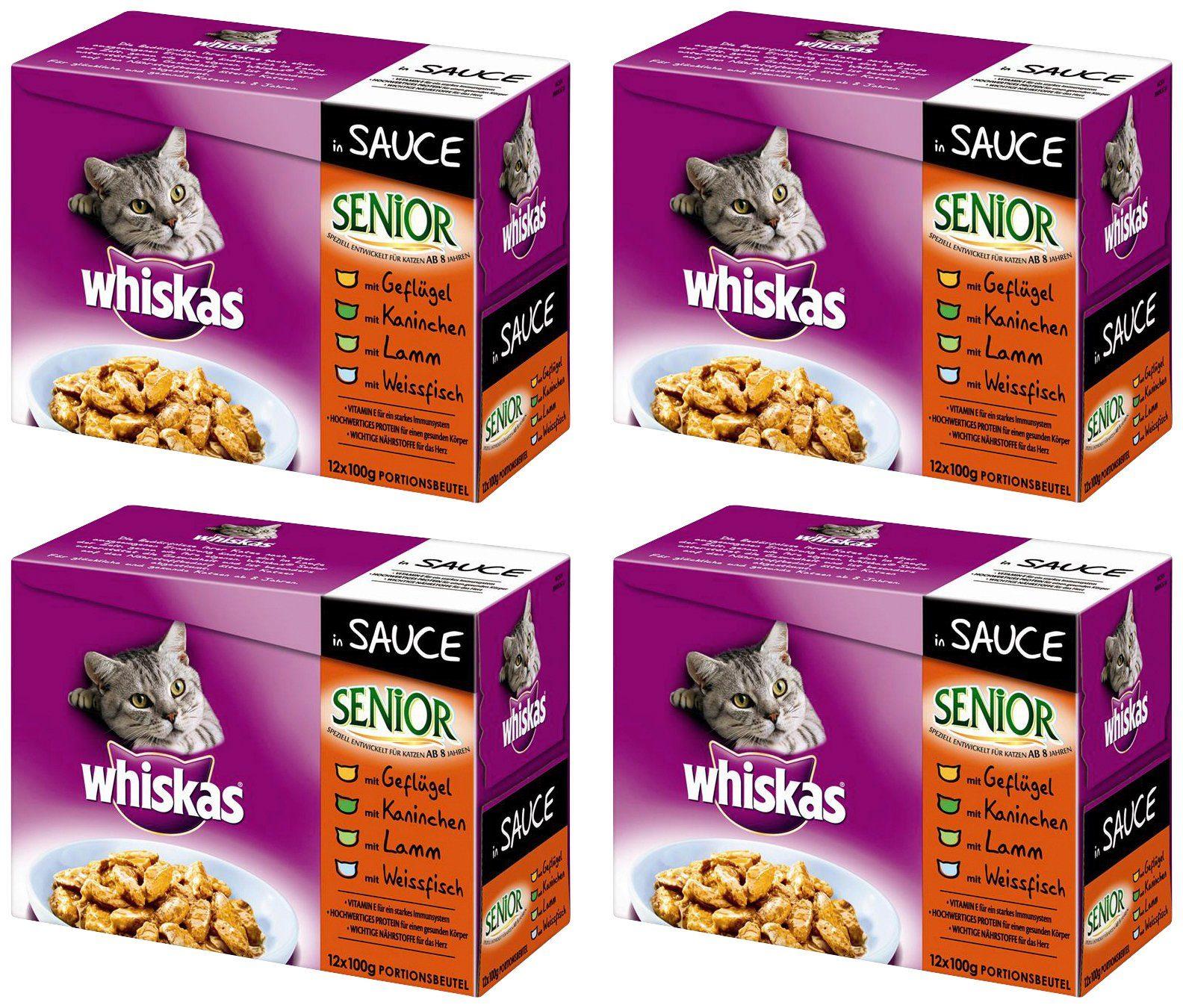 Whiskas Set: Katzennassfutter »Senior in Sauce«, 4 Pakete mit je 12 Beuteln á 100 g