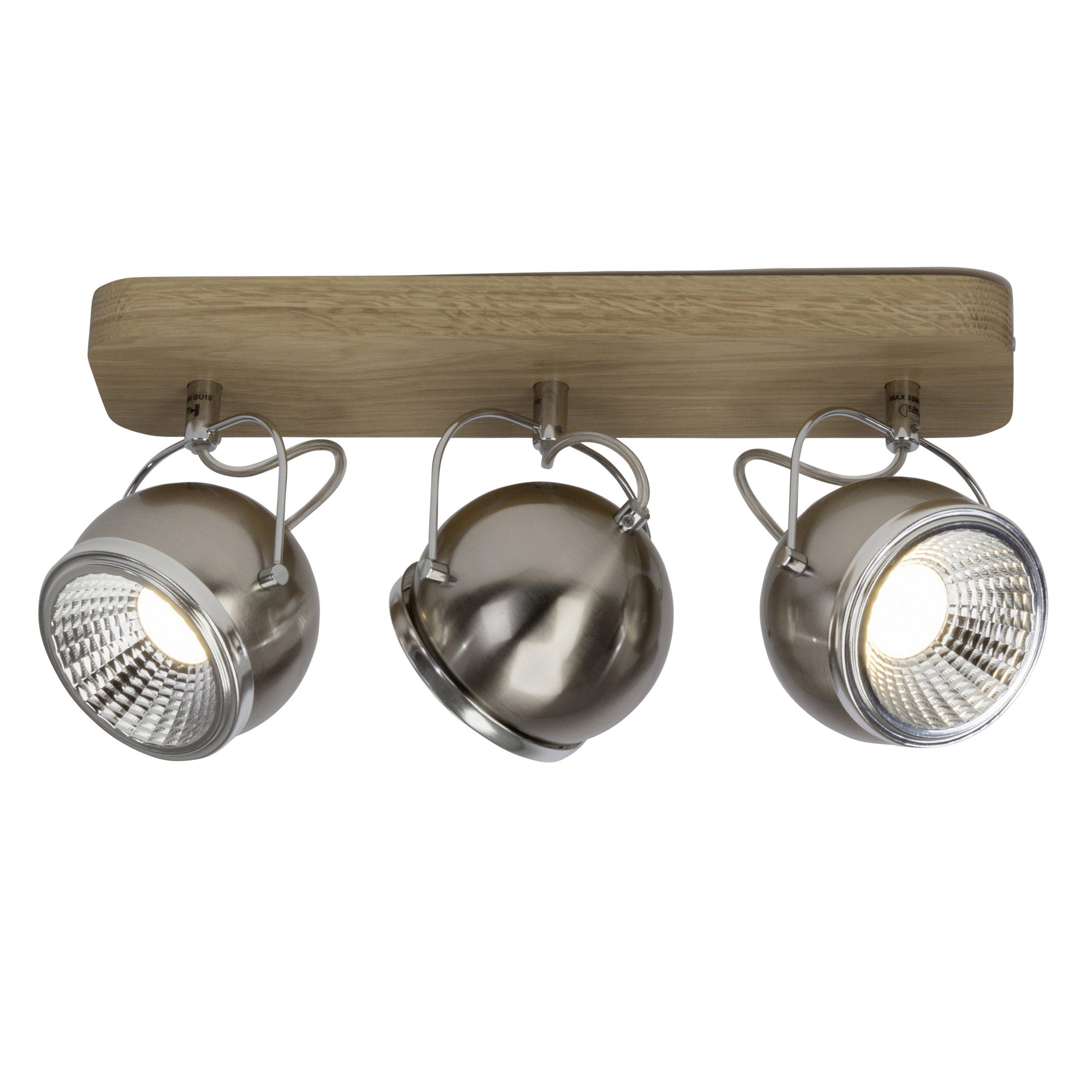 Brilliant Leuchten Tribe LED Spotbalken, 3-flammig eiche/eisen