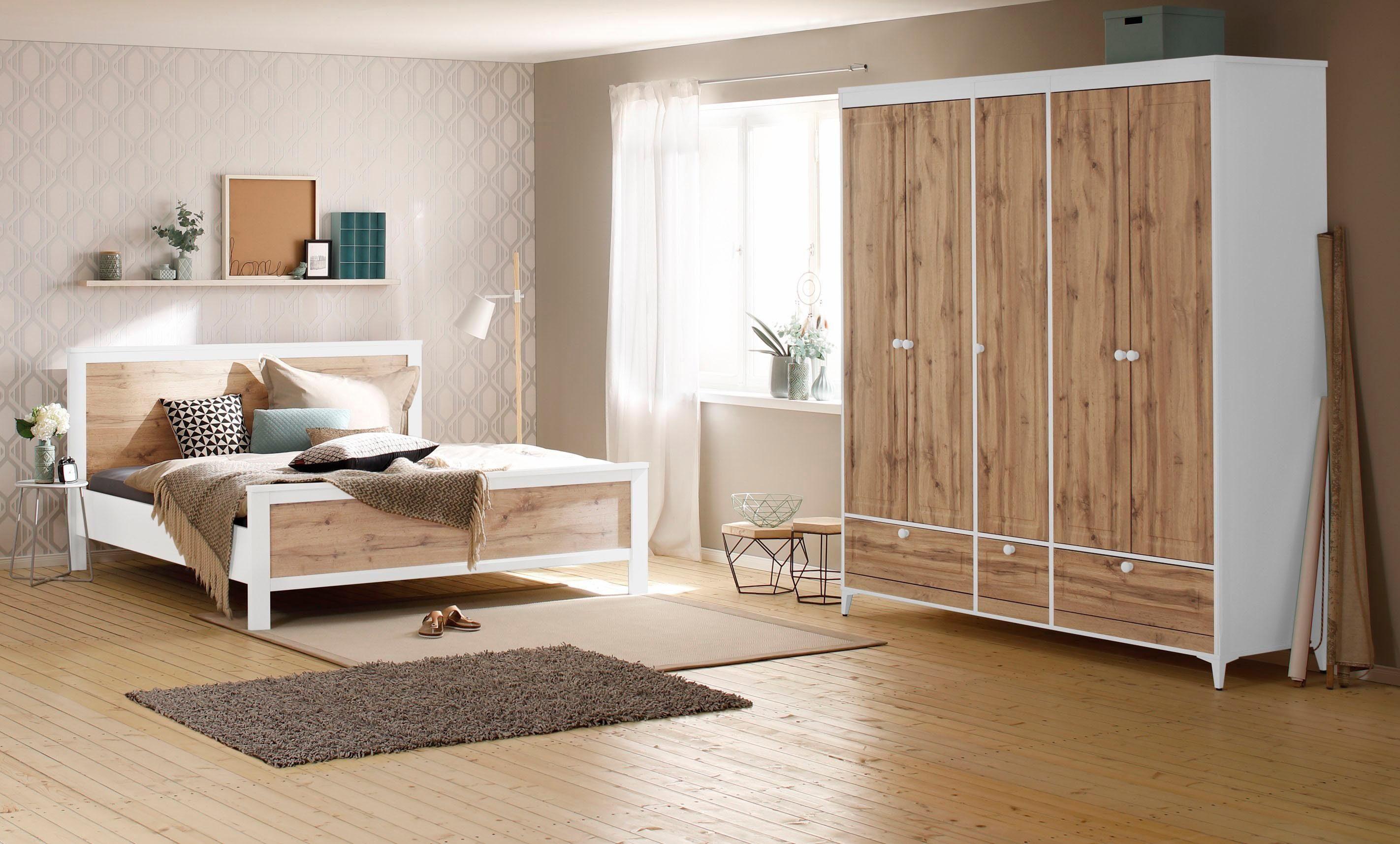 Home affaire Schlafzimmerset »Kjell« 4-tlg., bestehend aus einem Bett, zwei Nachttischen und einem Kleiderschrank