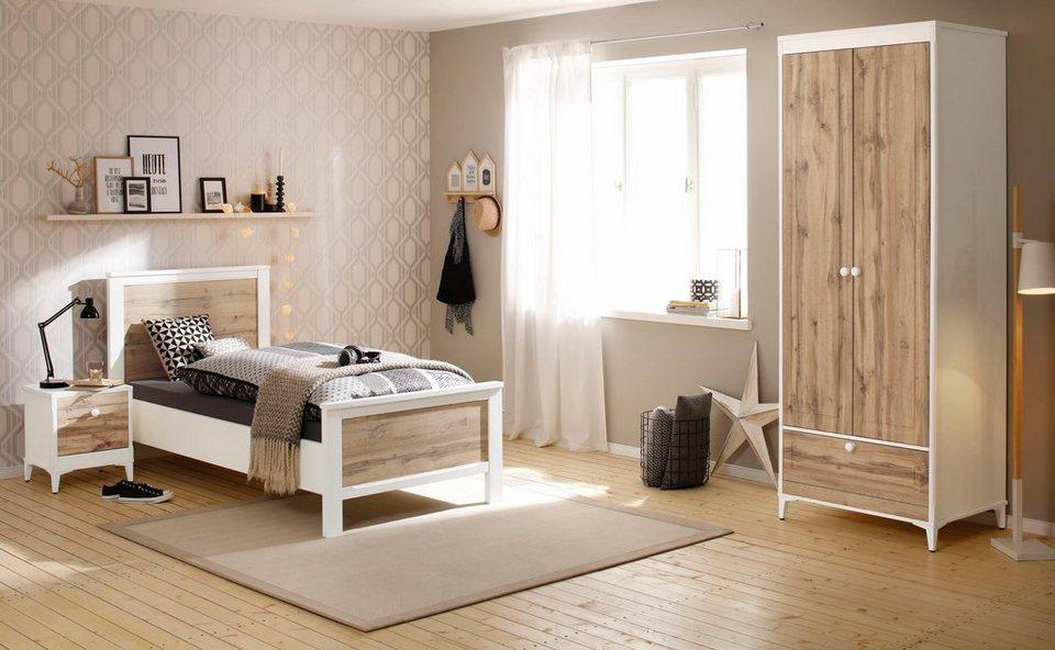 Home affaire Schlafzimmer-Set »Kjell«, bestehend aus Bett, Nachttisch und  2-türigem Kleiderschrank online kaufen | OTTO