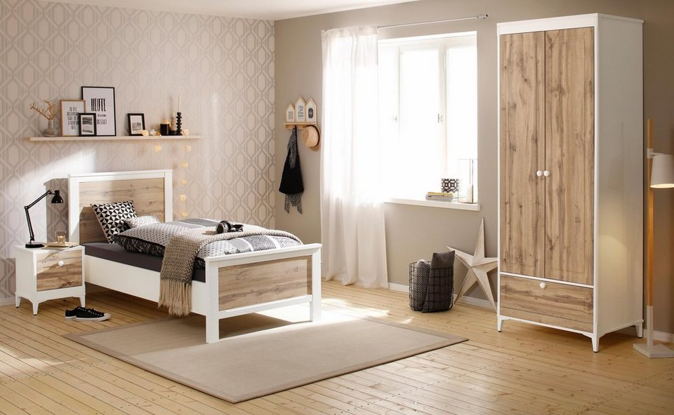 home affaire schlafzimmerset kjell 3 tlg bestehend aus bett nachttisch und 2 t rigem. Black Bedroom Furniture Sets. Home Design Ideas