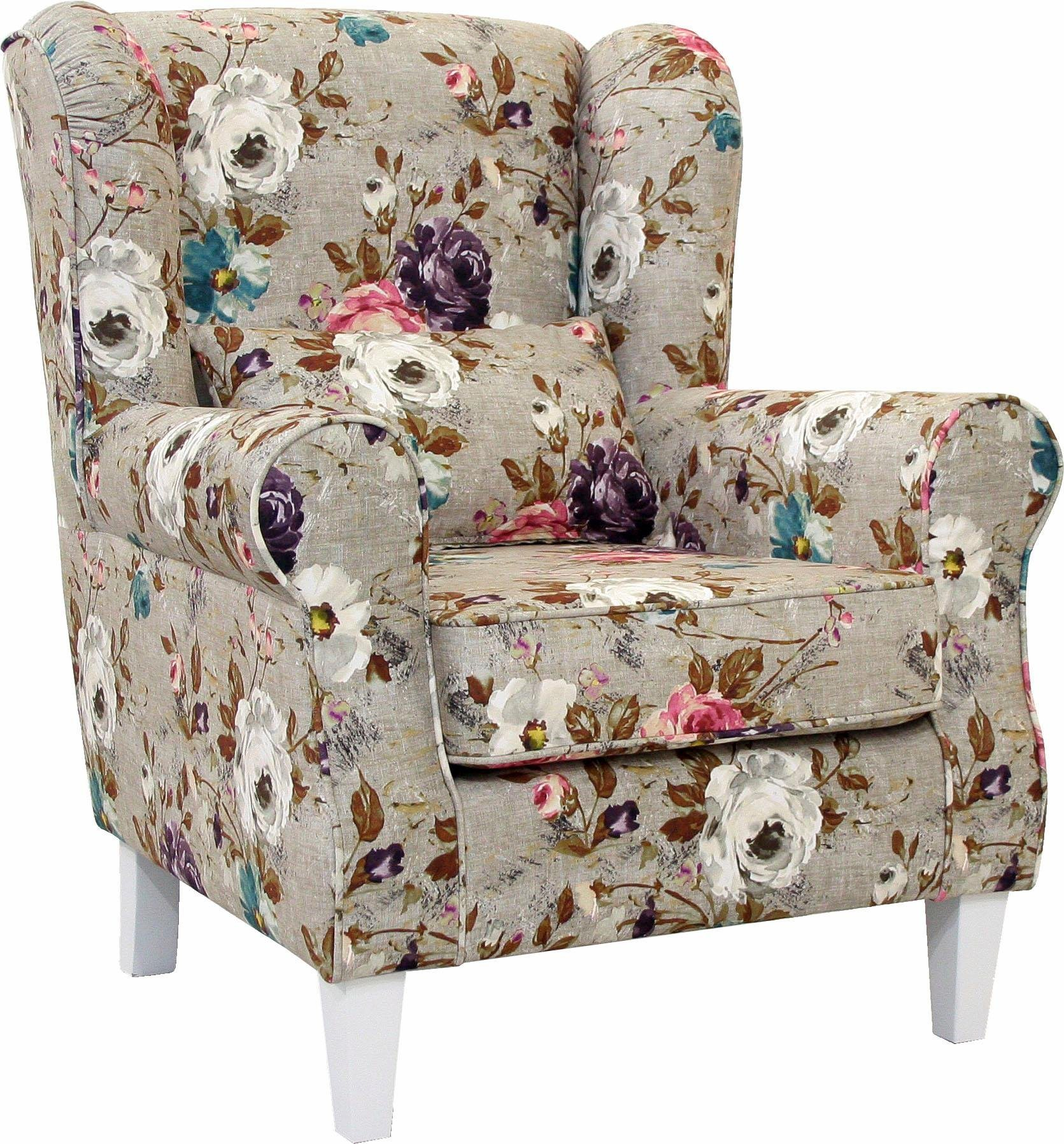 Home affaire Ohren-Sessel »Angela Plus« mit Kedernaht, Zierkissen und Holzfüßen, in 3 Farben | Wohnzimmer > Sessel > Ohrensessel | Velours | Home affaire