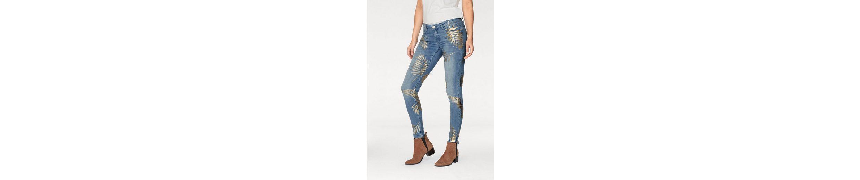 ALICIA floralen FIRE fit Allover Jeans Design BLUE im Skinny 1AwYUqI