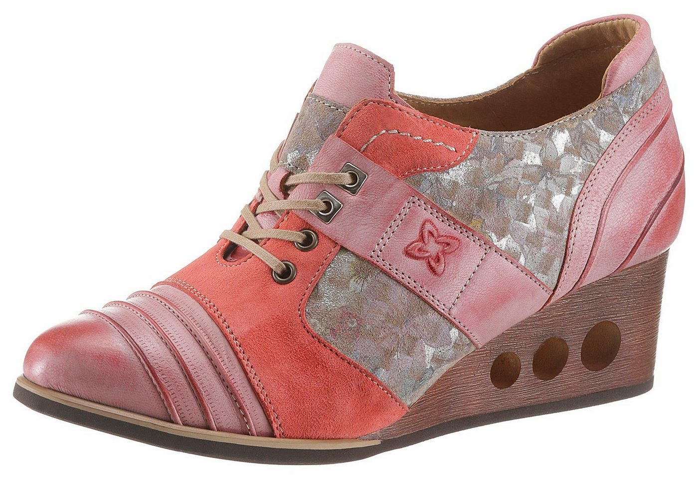 Damen Maciejka Schnürpumps mit raffinierten Keilabsatz rosa | 05902040020169
