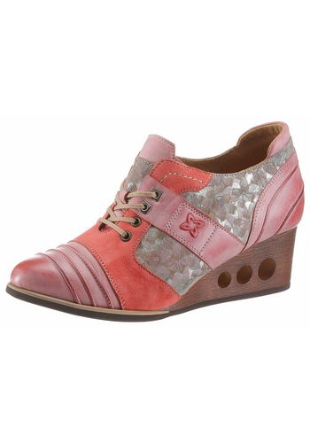 Damen Maciejka Schnürpumps mit raffinierten Keilabsatz rosa   05902040020169