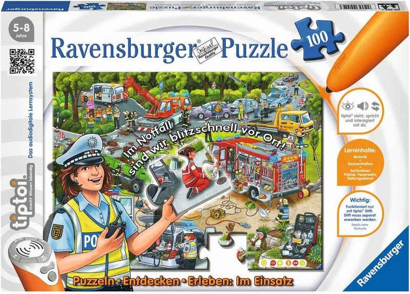Ravensburger Puzzle »tiptoi® Im Einsatz«, 100 Puzzleteile, Made in Germany, FSC® - schützt Wald - weltweit