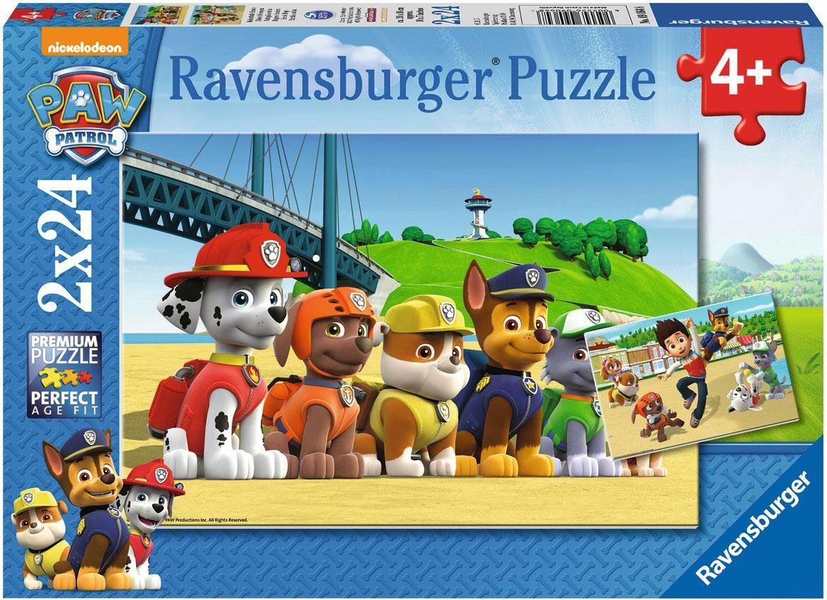 Ravensburger Puzzle, 2x24 Teile, »Paw Patrol Heldenhafte Hunde«