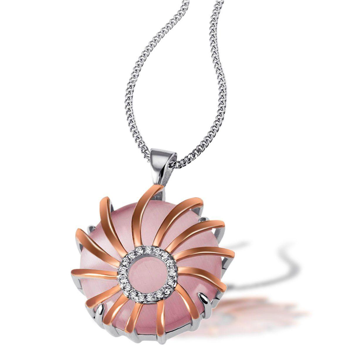 goldmaid Collier 925/- Sterlingsilber 1 Glasstein rosa