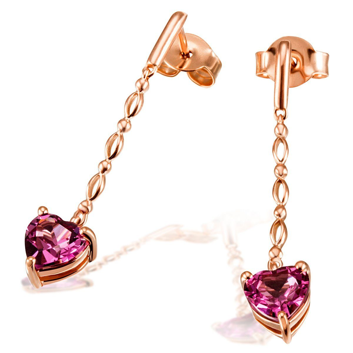 goldmaid Paar Ohrhänger Herz 585/- Rotgold 2 Rhodolithe