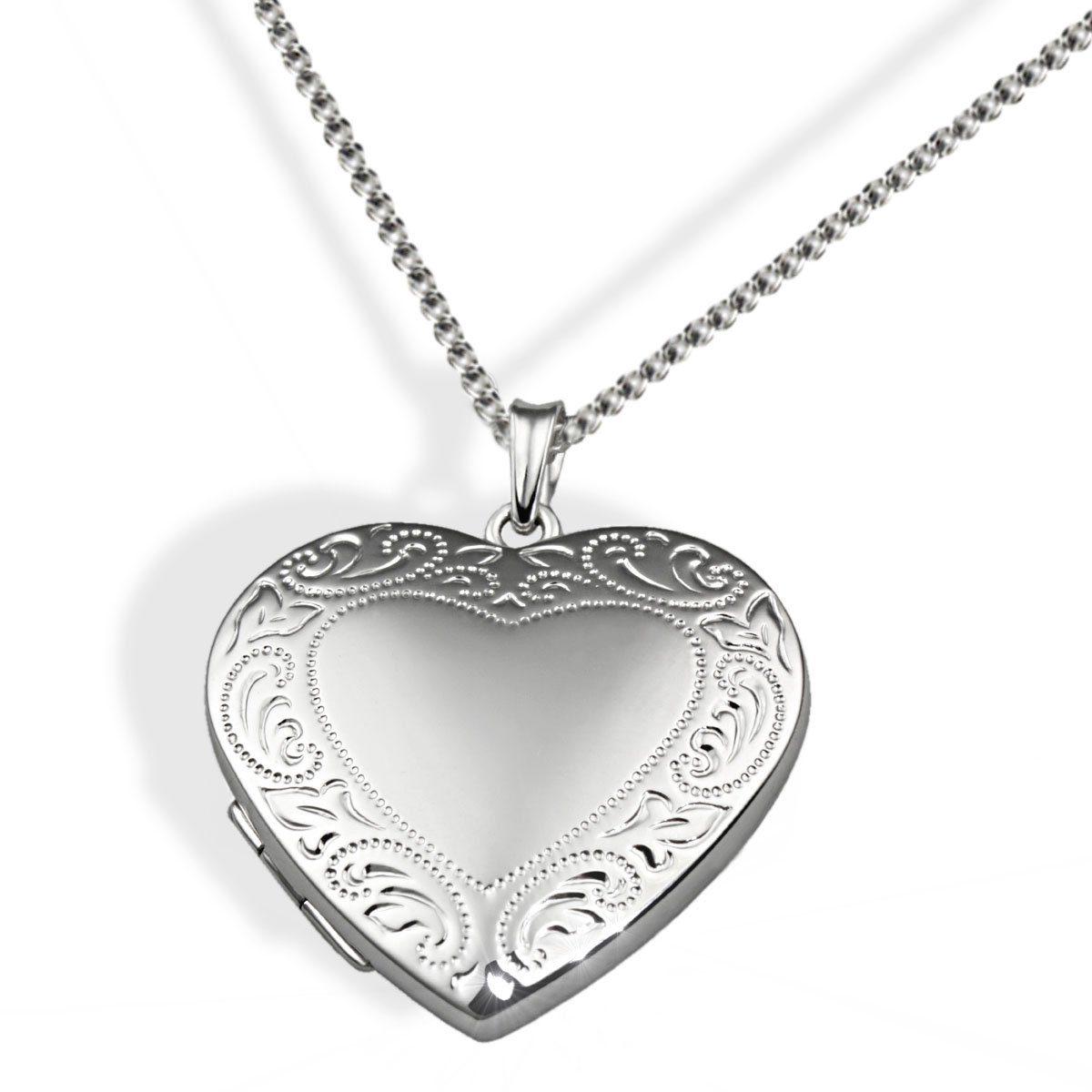 Averdin Collier Silber 925/- Medallion Herz mit Muster