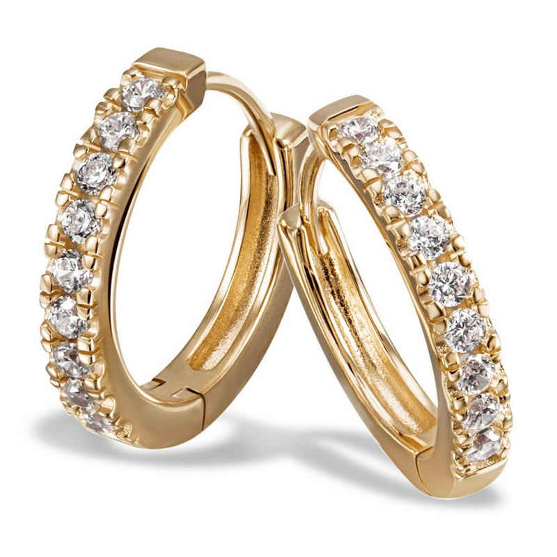 goldmaid Paar Creolen 925/- Sterlingsilber gelb vergoldet 18 Zirkonia