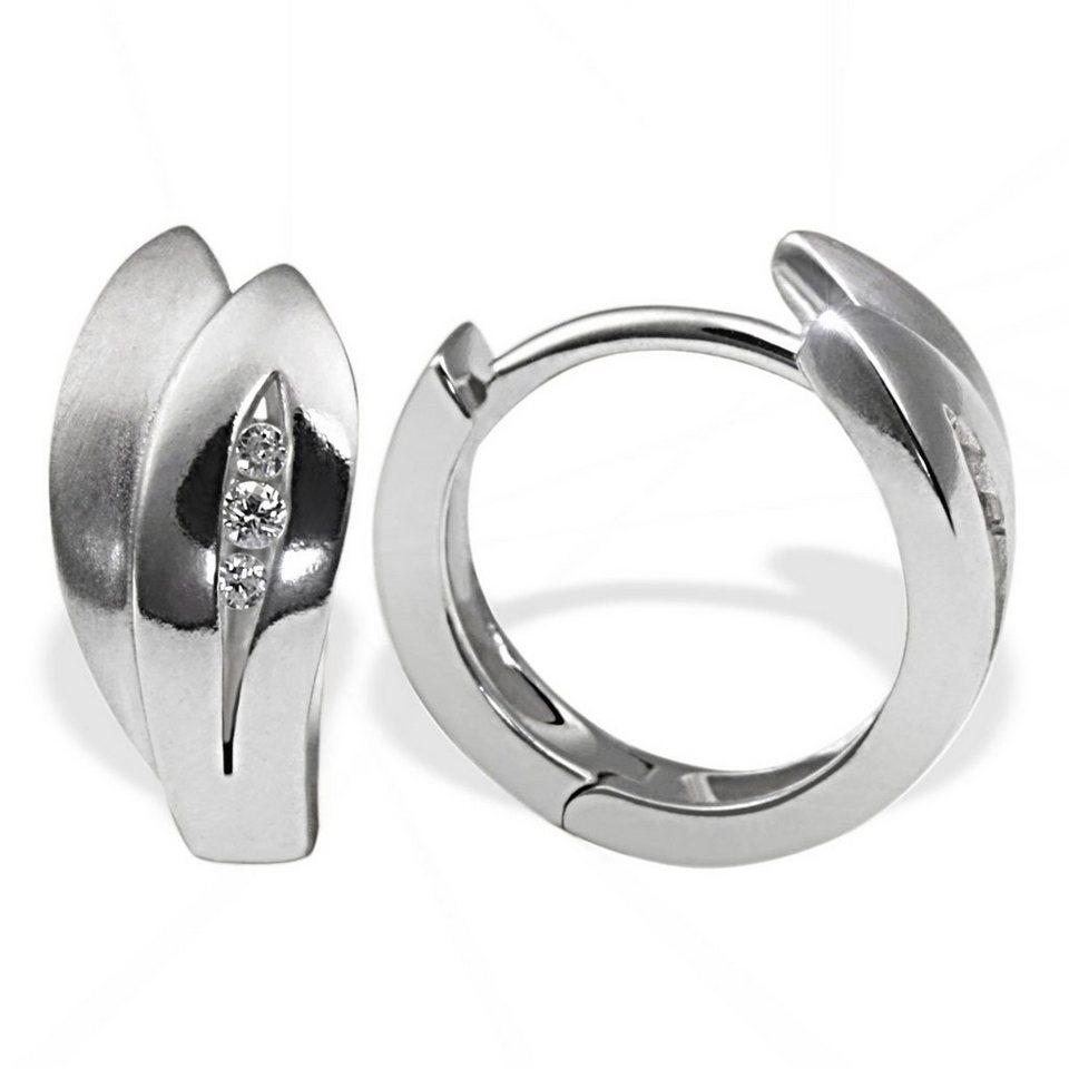 Creolen silber  goldmaid Paar Creolen Silber 925/- Zirkonia Blattform teilweise ...
