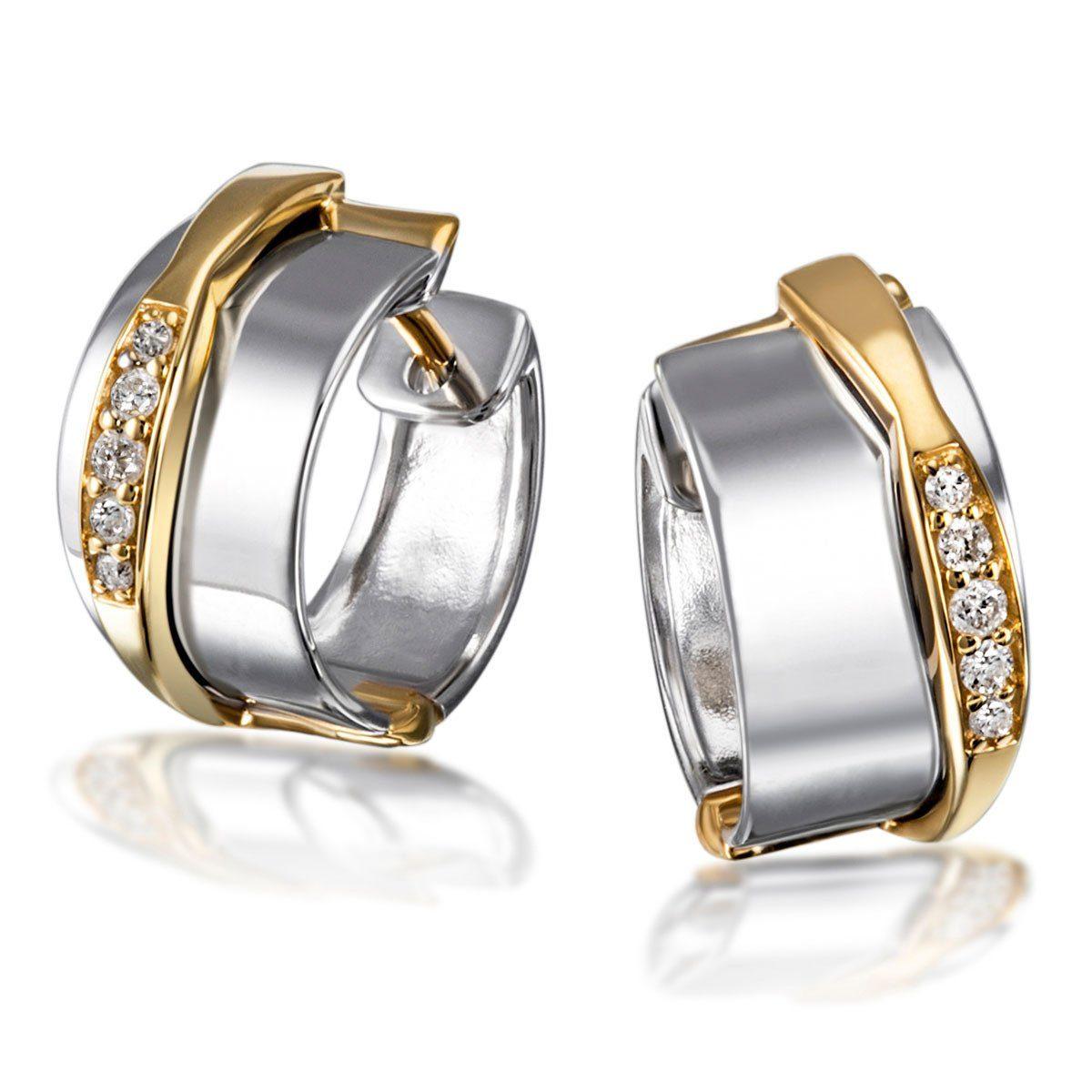 goldmaid Paar Creolen 925/- Silber 10 Brillanten 0,10 ct. P2/H