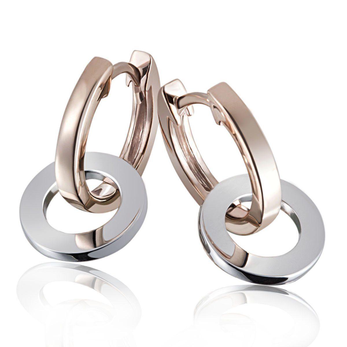 goldmaid Paar Creolen Ringe Bicolor 375/- Gold