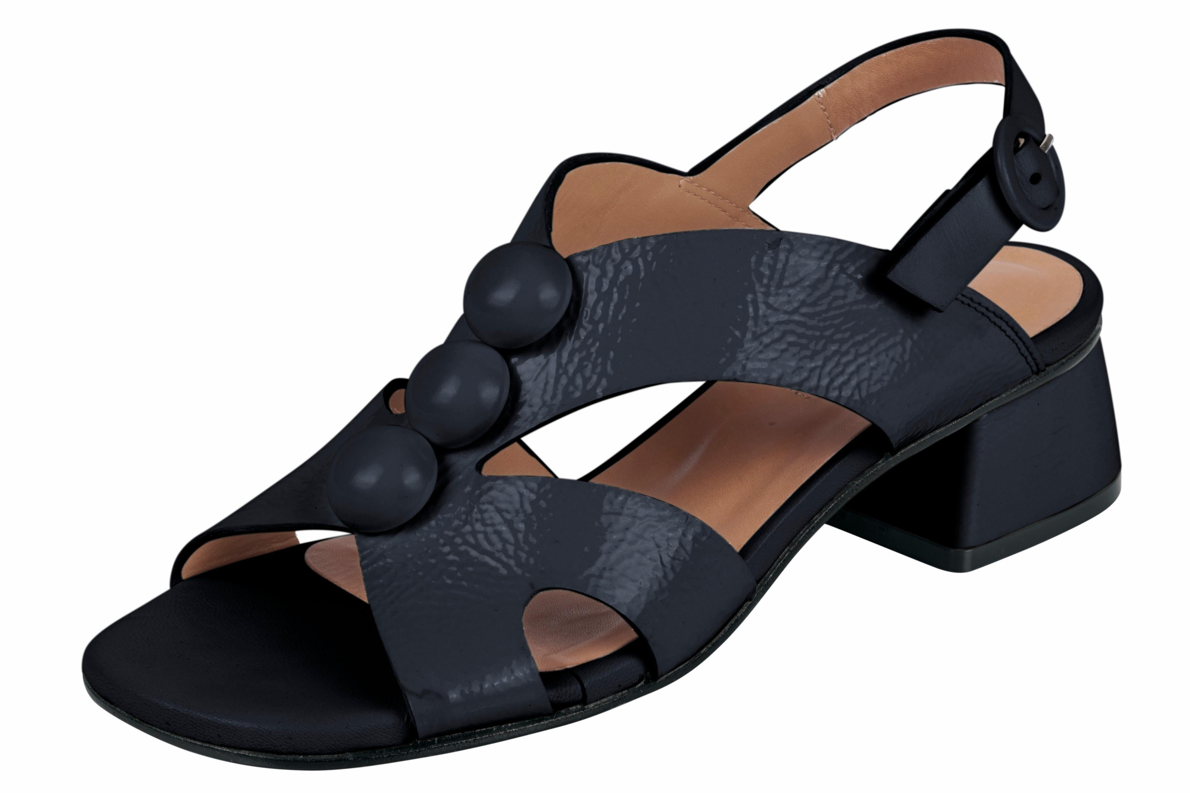 ZINDA Sandalette aus Lackleder, schwarz, schwarz