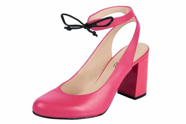 Damen Heine Slingpumps genarbtes Leder geprägtes Leder rosa   04250667967468