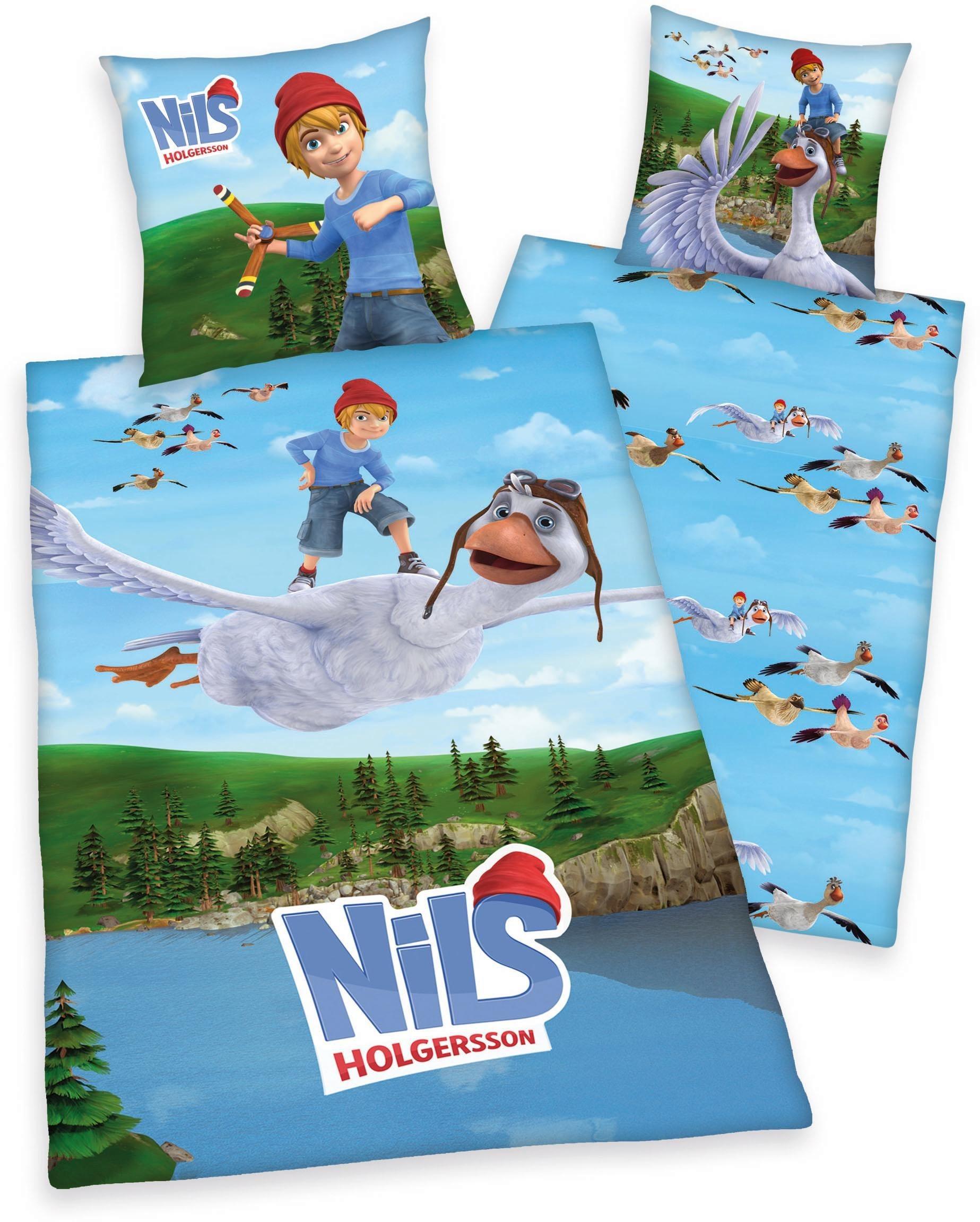 Kinderbettwäsche »Nils Holgersson«, mit Motiv | Kinderzimmer > Textilien für Kinder > Kinderbettwäsche